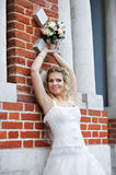 Russian bride with wedding bouquet Royalty Free Stock Image
