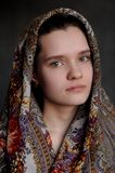 Russian brunette green eyed girl in Pavlo-Posad russian shawl st Royalty Free Stock Photo