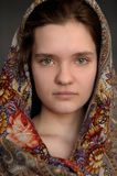 Russian brunette green eyed girl in Pavlo-Posad russian shawl st Royalty Free Stock Photos
