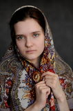 Russian brunette green eyed girl in Pavlo-Posad russian shawl st Stock Images