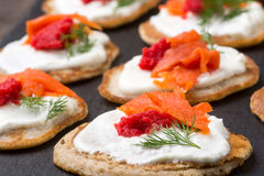 Russian buckwheat pancakes blini with cream and caviar Royalty Free Stock Images