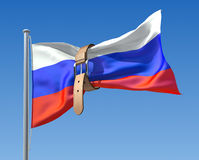 Russian budget crisis. 3D concept with Russian flag and tighten belt Royalty Free Stock Image