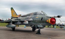Russian built Sukhoi Su-22 Fitter variable geometry swing wing aircraft. At the inaugural RAF Scampton air show in Lincolnshire, UK, 10 September, 2017 Stock Image