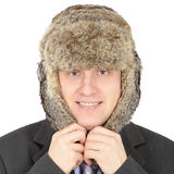 Russian businessman in fur hat on white background Royalty Free Stock Image