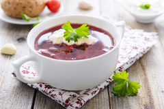 Russian cabbage and beetroot soup - borsch Royalty Free Stock Photos