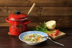 Russian cabbage soup with chicken in red pot served with chilli, Stock Photography
