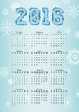 Russian Calendar for 2016 on blue background and snowflakes. Vector calendar for 2016 written in Russian names of the months January, February etc. and the Royalty Free Stock Image