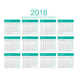 Russian Calendar Vector 2018. Vector Template of Russian Calendar 2018 year green Royalty Free Stock Photo