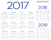 Russian Calendar 2017-2018-2019 vector. Text is outline version 10 Royalty Free Stock Photography