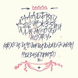 Russian calligraphic alphabet. Contains lowercase and uppercase letters, numbers and special symbols. Russian calligraphic alphabet. Vector cyrillic alphabet Royalty Free Stock Photos