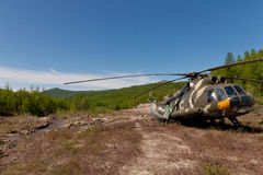 Russian camouflage helicopter Royalty Free Stock Photos