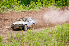 Russian car rally racing Stock Photos