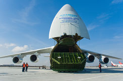Russian cargo aircraft. At ramp Royalty Free Stock Photo