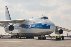 Russian cargo aircraft. At ramp Stock Images