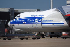 Russian cargo plane on freight platform Stock Photography