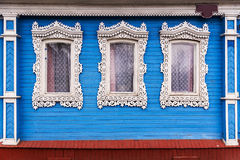 Russian carved frames of wooden houses Stock Image