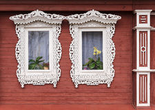 Russian carved frames of wooden houses Royalty Free Stock Photo