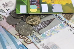 Russian cash and credit cards. The Russian credit cards lie on the russian cash Royalty Free Stock Photos