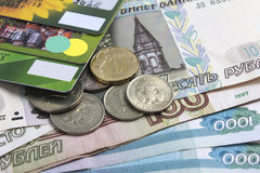 Russian cash and credit cards. The Russian credit cards lie on the russian cash Stock Photo