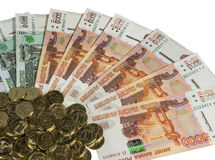 Russian cash on a white background. royalty free stock photo