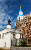 Russian Cathedral under Construction. Building of The Transfiguration of the Savior Cathedral in Valaam island in Russia, under construction Royalty Free Stock Photos