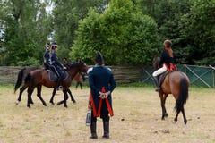 Russian cavalry in the Borodino field. Royalty Free Stock Photography