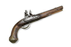 Russian cavalry flint pistol (gun) Royalty Free Stock Images