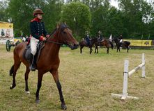 Russian cavalry train in the Borodino field. Stock Photos
