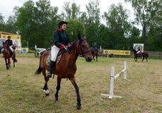 Russian cavalry train in the Borodino field. Stock Images