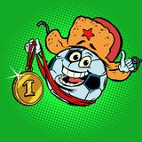 Russian championship, first place gold medal. Character soccer b. All football. Comic cartoon pop art retro illustration vector drawing Royalty Free Stock Images