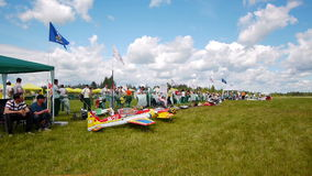 Russian championship in the sport aircraft modeling Stock Photos