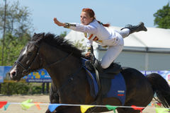 Russian championship in trick riding Stock Photos