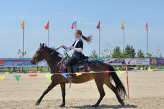 Russian championship in trick riding Stock Photo
