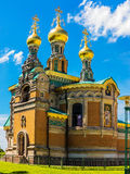 The Russian chapel on the Mathildenhöhe in Darmstadt, near Wedding Tower, Germany Stock Photos