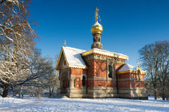 Russian chapel in the snow Stock Photography