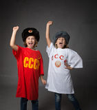Russian children with fist closed Royalty Free Stock Photography