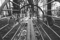 Russian children's Playground in the woods. Called the rocket look through royalty free stock image