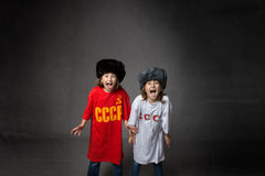 Russian children screaming Stock Images