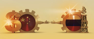 Russian and China flags on gears. Gas rig and dollar sign. Image relative to gas transit from Russia to China. Business Handshake. 3D rendering. Lens flare Stock Photo