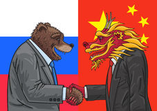Russian Chinese alliance. Russia and China are much closer together today Stock Photo