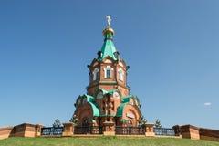 Russian christian church in krasnoyarsk. Against the blue sky Stock Photography