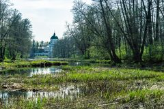 Russian Christian church , a religious church on the river in the forest, Voronezh region royalty free stock photography