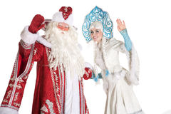 Russian Christmas characters. Ded Moroz (Father Frost) and Snegurochka (Snow Maiden Royalty Free Stock Images