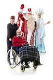 Russian Christmas characters, man on wheelchair Royalty Free Stock Photography