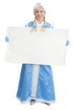 Russian christmas girl with blank banner. Smiling girl dressing in traditional russian christmas costume of Snegurochka (Snow Maiden) with blank banner, isolated Royalty Free Stock Photos