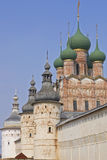 Russian church. Domes of russian church behind a wall Royalty Free Stock Image