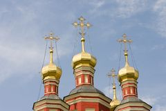 Russian church. On blue sky background Stock Images