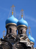 Russian church. Russian orthodox church with blue towers in Dresden, Germany. Built-up between 1872 and 1874 in old russian style, the church has a special Royalty Free Stock Photography
