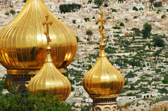 Russian church. Russian orthodox church with gold domes on the mount of olives, Jerusalem, Israel royalty free stock images