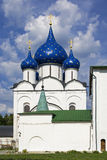 Russian church. Landscape with the Russian church with blue domes royalty free stock image